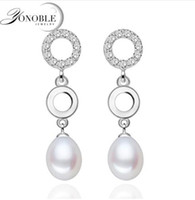 Wholesale Real Silver Earings - Real pearl earings for women white pearl 8-9mm earrings 925 silver earring with pearl jewelry girlfriend birthday party gift top grade