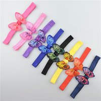 Wholesale Animals Grosgrain - Multicolor Girls elastic butterfly headband kid butterfly printing Grosgrain Ribbon bow hair band children hair accessory