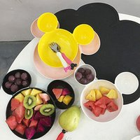 Wholesale Cartoon Mickey Shape Children s Bowl of fruit Dish Children s Plate Melamine Tableware Creative Dish Snack Plate with a fork spoon