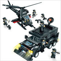 Wholesale Woma Building Bricks - WOMA 716pcs SWAT Police Model Building Blocks Assembly Building Toys Educational DIY Bricks Gift Block Children Minifigure Gift