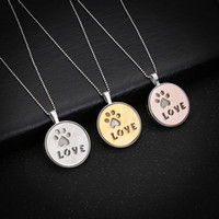 Pendant Necklaces South American Women's Lovely Luminous Dog Pet Love Paw Perfume Diffuser Locket Pendant Women Necklace 2017 Wholesale Vintage Wedding Bride Jewelry Gift