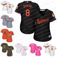 Wholesale Grey Shirt Cool - Womens Baltimore Orioles Jerseys #8 Cal Ripken Baseball Jerseys Ladies Shirt Cool Base White Blue Pink Fashio Grey Stitched