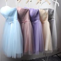 Wholesale Light Colors For Bridesmaids Dresses - Summer Short Bridesmaid Dresses Strapless Pleats Tulle Knee Length Wedding Party Dresses Various Colors for Choice