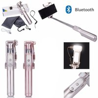 Wholesale LED Wireless Bluetooth Extendable Handheld Fold Selfie Stick Monopod Shutter