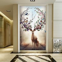 Wholesale Forest Wallpaper For Home - Forest deer Wallpaper Fantasy Wall Mural Custom Wallpaper Hallway Porch Bedroom Living room Hotel coffee Door Art Room Decor Home decoration