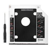 Wholesale Usb Dvd Slot Drive - Wholesale- Aluminum 9.5mm optical dvd bay drive slot adapter 2.5inch sata hard drive ssd hdd enclusure for laptop CD-ROM