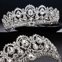 Wholesale royal wedding veils - Luxury Bridal Crown Cheap but High Quality Sparkle Beaded Crystals Royal Wedding Crowns Crystal Veil Headband Hair Accessories Party Tiaras