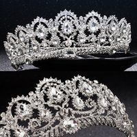 Wholesale tiara beaded veils - Luxury Bridal Crown Cheap but High Quality Sparkle Beaded Crystals Royal Wedding Crowns Crystal Veil Headband Hair Accessories Party Tiaras