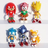 Hot Sale 6pcs / set 6 centímetros Sonic the Hedgehog PVC Figuras de Ação Brinquedos Para Bebê Diy Cartoon Presentes