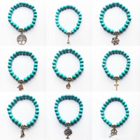Wholesale Turquoise Stone Cross Bracelet - Wholesale New Natural Lava Stone Tree of life cross Turquoise Prayer Beaded Charms Bracelets Rock Men's Women's Fashion Diffuser Jewelry