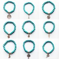 Wholesale Turquoise Cross Charm Bracelet Wholesale - Wholesale New Natural Lava Stone Tree of life cross Turquoise Prayer Beaded Charms Bracelets Rock Men's Women's Fashion Diffuser Jewelry