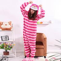 Wholesale Cheshire Cat Onesie Pajamas - New Sleepwear Cheshire Cat Pajamas Adult Onesie Animal Rompers Womens Sleepsuit Cartoon Cosplay Costumes Pyjama