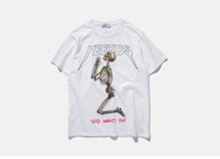 tees universitarios al por mayor-Camiseta de moda hombres carta impresa Skull camiseta verano kanye west manga corta negro blanco camiseta de algodón universidad tops casual tee