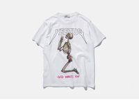 ingrosso crani bianchi neri di modo-Maglietta della maglietta del cranio di estate della maglietta di modo stampata maglietta nera di estate del cotone di kanye west del bicchierino del manicotto delle magliette bianche superiori del college