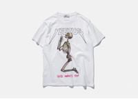 pamuk yarasa toptan satış-Moda T Shirt erkek mektubu baskılı Kafatası t-shirt yaz kanye batı kısa kollu siyah beyaz pamuk t gömlek üniversite casual tops tee