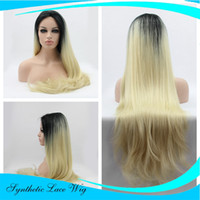 Natural Looking Ombre Blonde Lace Frente Perucas Synthetic-Dark Roots Brown to Blonde Resistente ao calor Meia mão amarrada Long ondulado Glueless Sintético