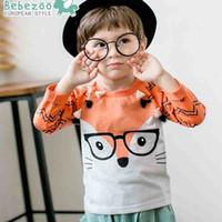 Wholesale Kids Shirts Glasses - Baby cute t-shirt Fox Glasses Boys Clothes T-shirts Toddler Cartoon Animal Tassel Long Seelve Cotton Korean Kids Tops Children Outwear A6218
