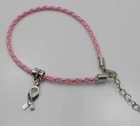 seil armbänder diy großhandel-100 teile / los Hoffnung Brustkrebs Awareness Ribbon Charm Anhänger Leder Seil Cham Armband Fit für Europäische Armband Handgemachte Fertigkeit DIY