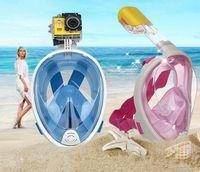 Wholesale Snorkel Free Shipping - Free Shipping Full Face Snorkeling Scuba Mask Underwater Scuba Diving Mask Swimming Snorkel Anti Fog