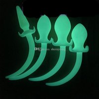 Wholesale Sex Slave Toy Tails - night luminous silicone animal dog tail anal plug butt plugs cosplay adult sex toys for slave couples MA0542