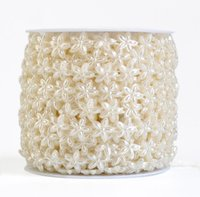 Wholesale Wholesale Ribbons Spools - 1 Spool Five-Petal flower Shape ABS Pearl Garland Cake Banding Trim Ribbon For Sewing Wedding Party Centerpiece Decoration