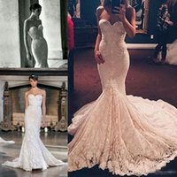 Wholesale Sweetheart Fish Tail Wedding Dress - Inbal Dror 2017 Full Lace Country Mermaid Wedding Dresses Sweetheart Church Train Backless Boning Modest Fish Tail Bridal Wedding Gowns