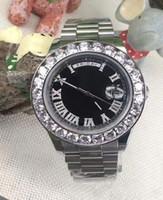 Wholesale Green Diamond Watch - 2017 AAA Luxury brand watch men black roman diamond number marker big diamonds bezel watch automatic sweep movement date mens wristwatches