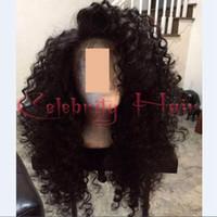 pelucas delanteras de encaje peines al por mayor-Freeshipping US estilo de pelo afro rizado rizado puede trenzado pelucas delanteras de encaje pelo de bebé peluca delantera de encaje sintético peines resistentes al calor
