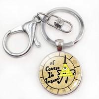 Wholesale Gravity Wheels - Cute Gravity Falls Keychains Mysteries Bill Cipher Wheel Glass Key Chains Holder Keyrings Children Kid Birthday Friendship Gift