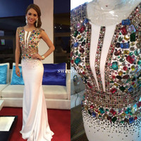 Wholesale Usa Length - White Miss USA Pageant Evening Gowns Sheath Satin with Colorful Beading Jewel Neck 2017 Long Prom Dresses Formal Occasion Party Dress Cheap