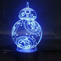 Wholesale Robot Table Lamp - New Remote Control 3D robot BB Table Lamp USB Colorful 7 Color Change LED Home Party Bedroom Decorative Night Light Gift wn309