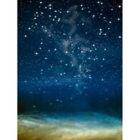backdrops bleu achat en gros de-Bleu nuit vinyle décors de photographie avec des paillettes étoiles nuages épais enfants milieux de fond pour studio photo bébé photobooth accessoires