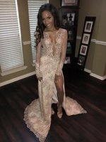 Wholesale Sexy Silk Wear - Sexy Plunging V Neck Lace Sequins Evening Dresses 2017 Sheer Long Sleeve Thigh High Split Long Sweep Train Prom Dresses Vintage Formal Wear