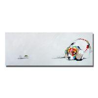 painéis de cães venda por atacado-Mão desenhando um painel dos desenhos animados animal cão pintura a óleo sobre tela de lona livre design parede pintura a óleo abstrata