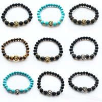 Wholesale Meditation Free - Volcanic Stone Lions Head Fashion Buddhist Buddha Meditation Beaded Bracelets For Men Statement Jewelry Prayer Charm free shipping