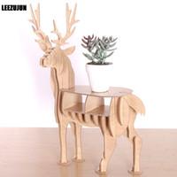 Wholesale Vinyl Stands - Wooden Elk shape Decorative rack Plant Stand Display Shelf deer Figurines Desktop storage shelf