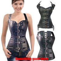 Wholesale Printed Halter Corset - New fashion halter leather corset 2016 Black cool girl sexy bodysuit ohyeah sexy club wear for women leather clothing