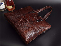 """Wholesale 14 Laptop Shoulder Bag - Crocodile Men Briefcase Genuine Leather Business Bag 14"""" Leather Laptop Shoulder Bag Men's Messenger Travel Bags"""