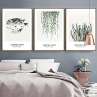 Wholesale Left Western - Modern Home Wall Decoration Wall Art Painting Western Style Refreshing Dining Room Wall Paints Plants Leaves Framed Paintings 3 Sizes