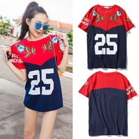 block patch - Contrst Color T Shirt Woman Printed Flower Studs Patch Oversize Wide Fit Red Navy Color Blocked T Shirts Top Woman