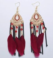 5 Styles 2017 Statement Fashion Feather Earring Mulheres Bohemian Ethnic Tassel Brincos Dangle Vintage Big Long Earrings Gift B624S