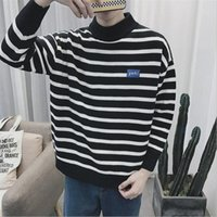 Wholesale Vintage White Sweater - Mens Knitted Striped Sweater Men Casual Outwear Coarse Wool Pullovers Homme Black White Vintage Fashion Oversized Sweaters Man