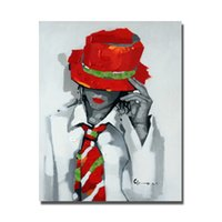 Wholesale Handsome Men Pictures - Free shipping handmade oil painting pop art figure wear red hat handsome man pictures artwork acrylic oil painting