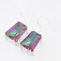 Wholesale Rainbow Crystal Earrings 925 - Luckyshine Christmas Day Two pieces lot 925 silver plated Simple Design rainbow crystal earrings for lady party gift E403