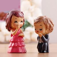 ingrosso paesaggio matrimonio-2PCS / Set Matrimonio Coppia Amante fai da te in resina Fairy Garden Craft Decorazione in miniatura Micro Gnome Terrario Paesaggio regalo