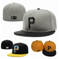 Wholesale Grey Brim Snapback - Fashion Pittsburgh fitted Snapback Caps full closure Pirates Hats Men Women flat-brim Summer Snap back Baseball Cap Adjustable Hat