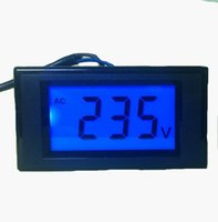 medidor de panel lcd voltímetro al por mayor-20 unids / lote AC 80-500 V Dos cables D69-20 Medidor de Voltaje Tester volt Panel detector con retroiluminación azul pantalla LCD de medición del voltímetro