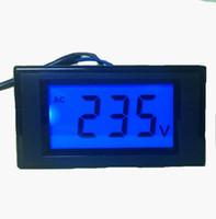 Wholesale Volt Panel Meter Blue - 20pcs lot AC 80-500V Two wires D69-20 Voltage Meter Tester volt Panel detector with blue backlight LCD display voltmeter measurement
