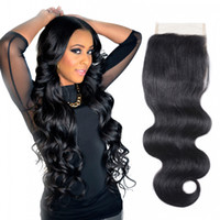 Wholesale Good 4x4 - Human Hair Body Wave Closure 4X4 lace Closure Indian Virgin Hair Weaves Natural Color Unprocessed Full Density Good Quality