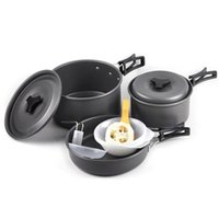 Wholesale Cooking For Person - Outdoor 2-3 Person Anodized Aluminum Cooking Utensils Picnic Pot Pan Bowl Camping Cookware for Camping Hiking Backpacking